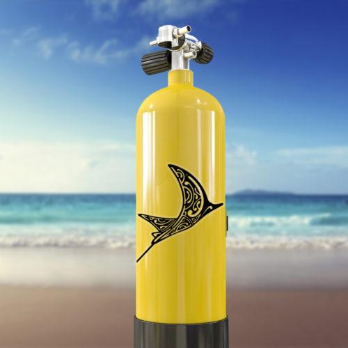 autocollant tatoo Raie aigle sur bouteille de plongée