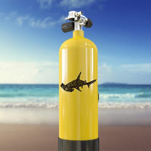 autocollant Requin marteau tatoo sur bouteille de plongée