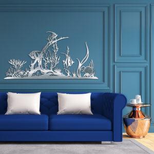 """Décoration murale inox """"Poissons & coraux"""""""