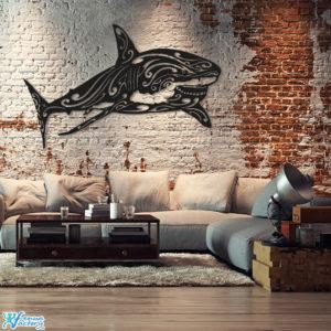décoration murale requin blanc en metal noir