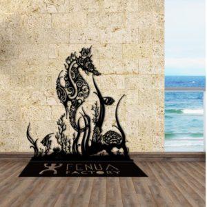 """Décoration sur pied """"Hippocampe et coraux"""""""
